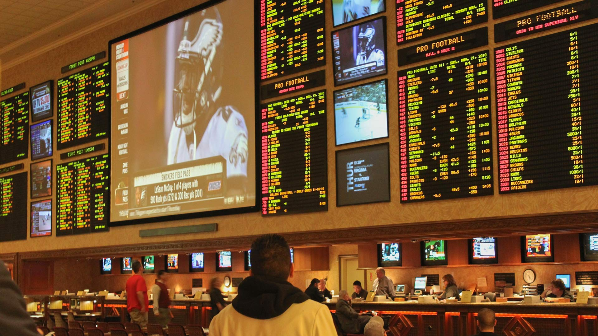 Sports betting in Las Vegas.