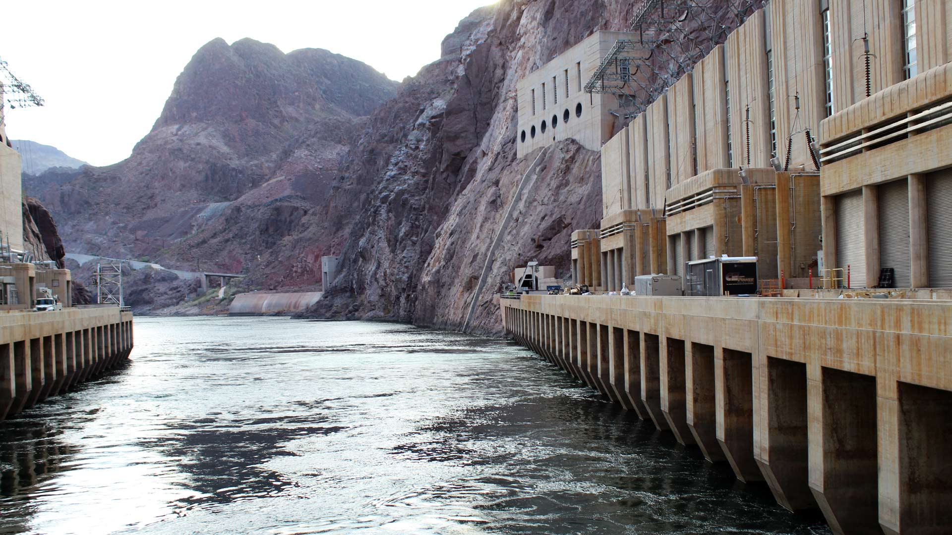 Water is released from Lake Mead outside Las Vegas through Hoover Dam. The reservoir's level is at the center of a dispute over water conservation between the river's Upper and Lower Basin states, February 18, 2018.