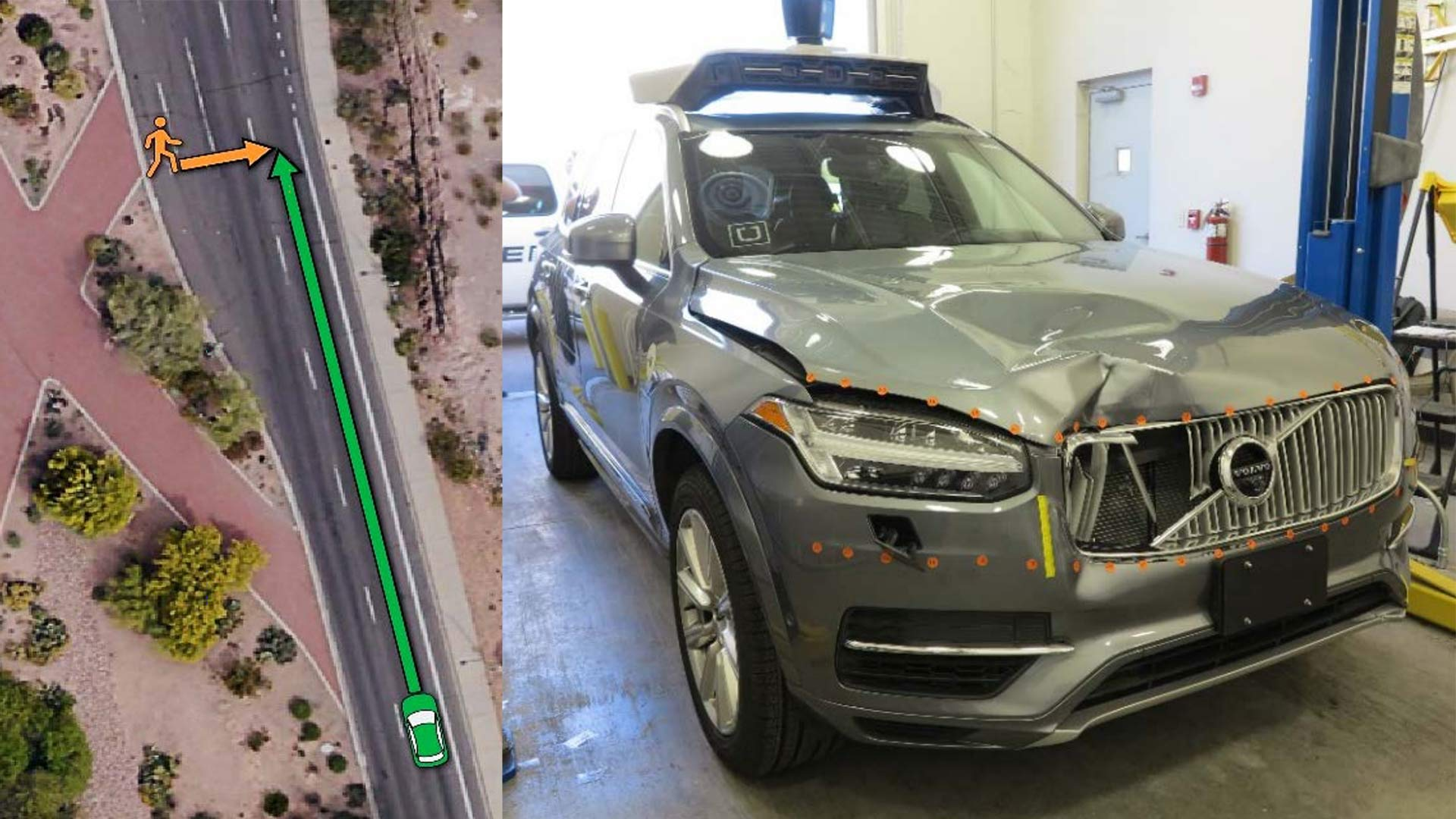 At left, an illustration of the path of a pedestrian and an Uber self-driving vehicle, at right, which struck and killed the pedestrian in March, 2018 in Tempe.