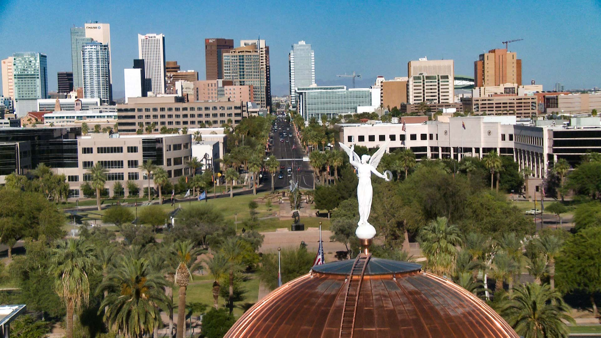 A view of downtown Phoenix from the top of the Capitol dome.