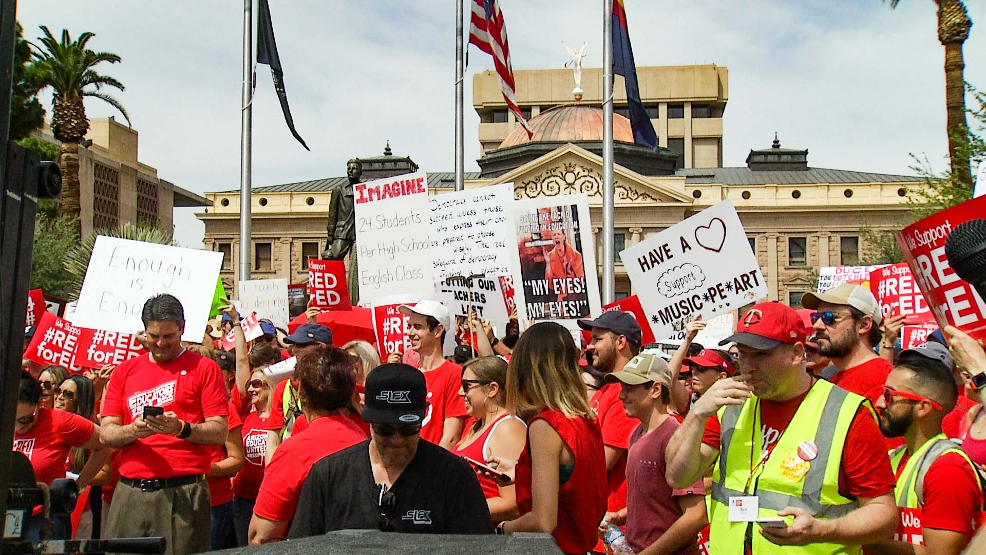#RedforEd demonstrators gather at the Arizona Capitol, Monday, April 30, 2018, to protest for increased education funding.