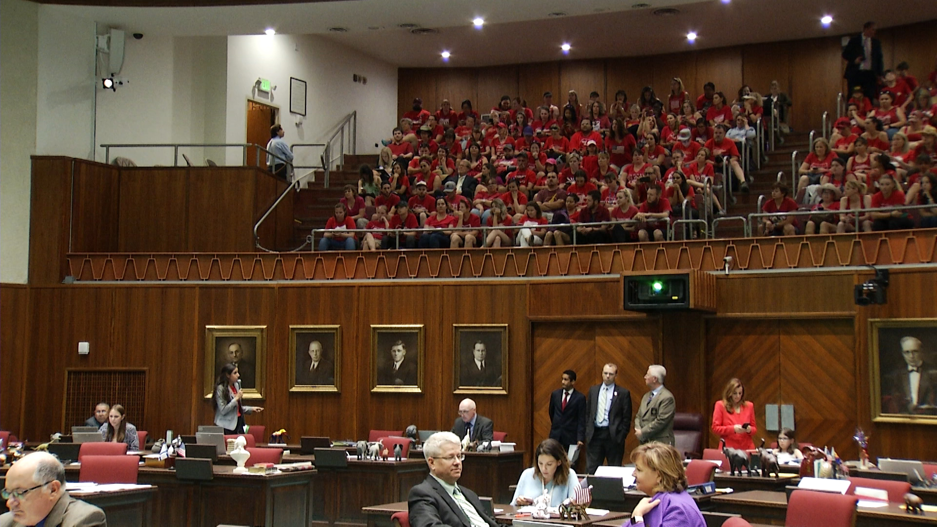 Teachers attending meeting at the Capitol