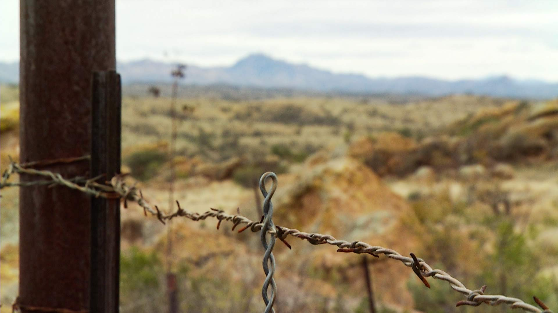 A barbed-wire fence located on the Chilton Ranch in Arivaca, Arizona.