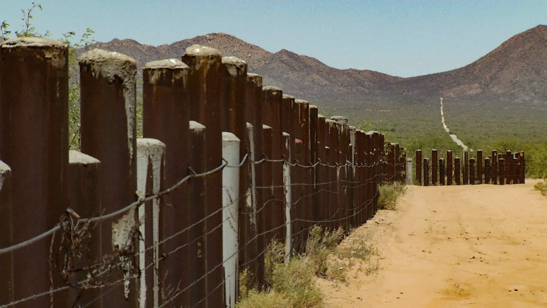 The barrier running along the U.S.-Mexico border cuts across the Tohono O'odham Nation.