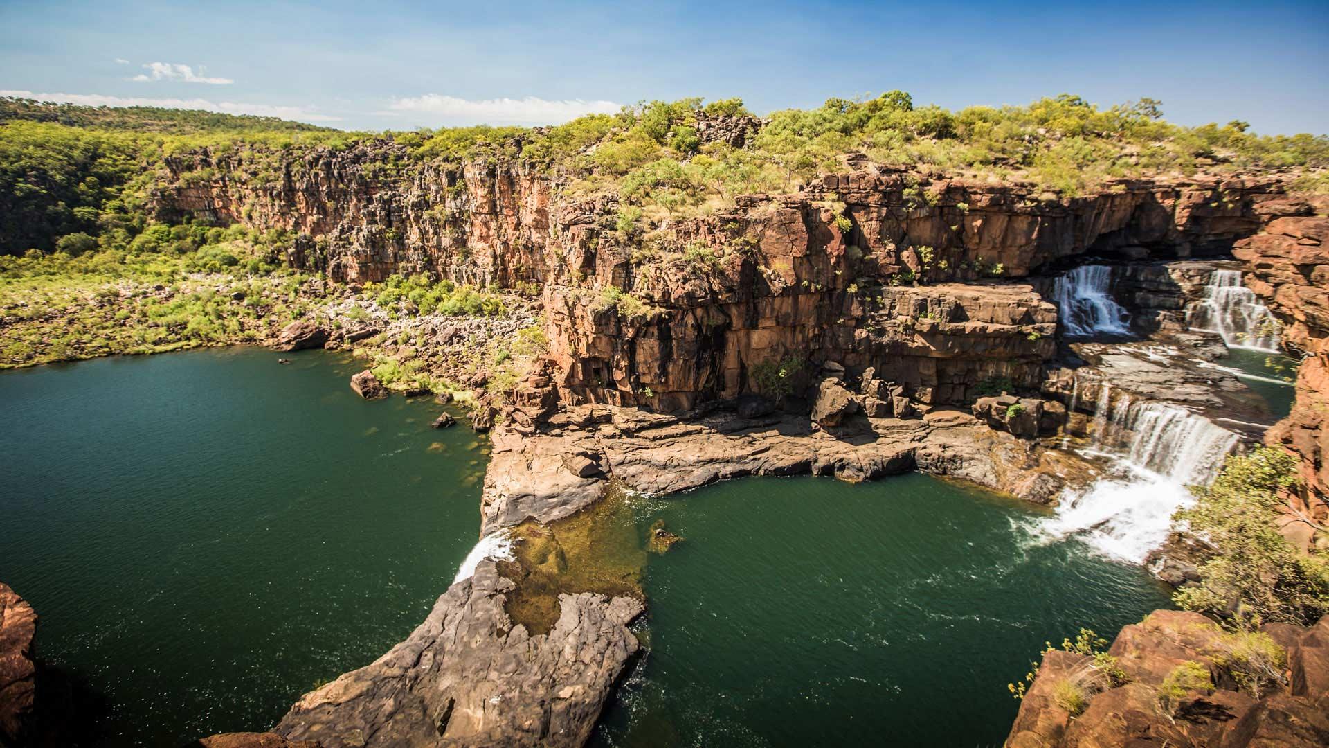 Aerial of North Western Australian coastline waterfalls near Broome.