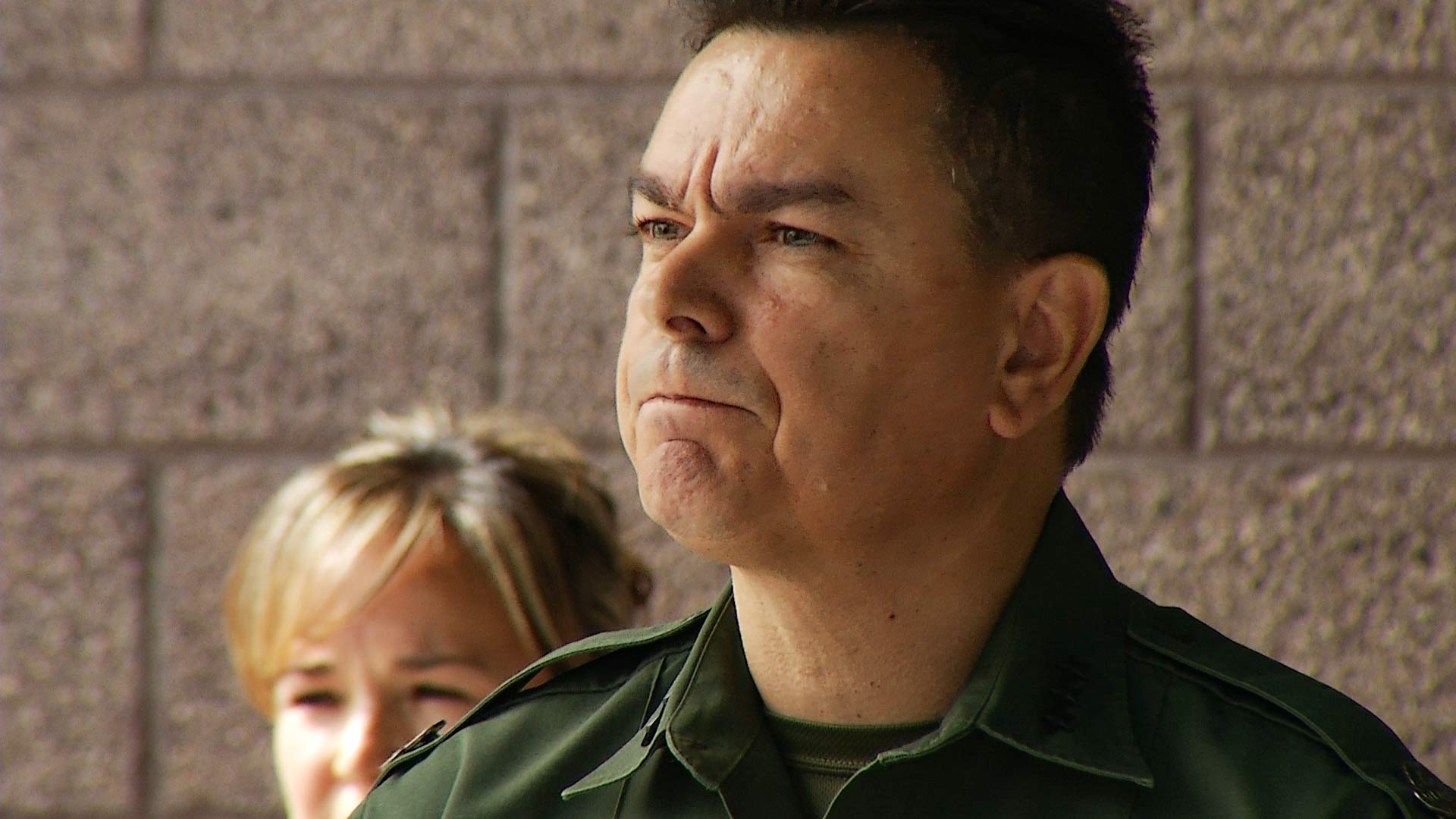 Border Patrol Tucson Sector Chief Rodolfo Karisch speaks to the media June 13, 2018 about a shooting that wounded an agent on the border near Arivaca the day before.