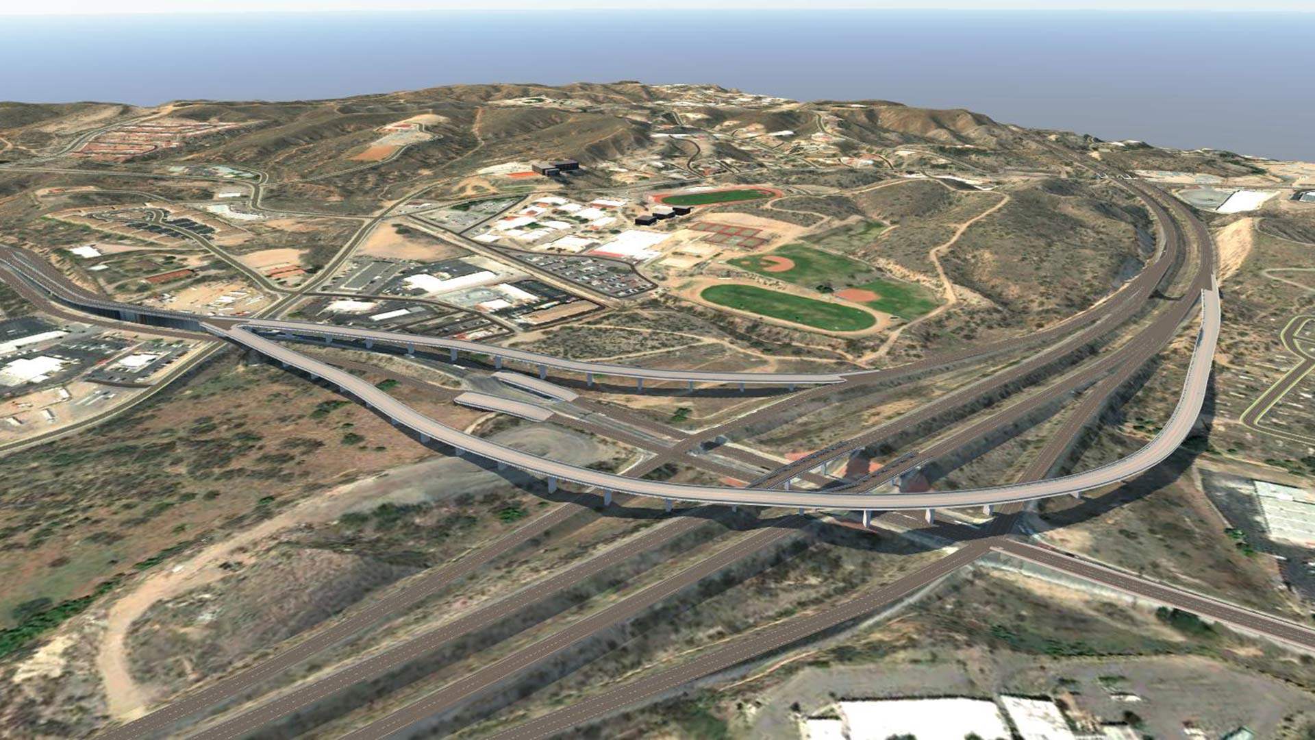 A computer-generated image shows proposed flyover ramps connecting State Route 189 to Interstate 19 near Nogales. The improvements, planned for completion in 2021, will give commercial traffic from the Mariposa Port of Entry easier access to the interstate.