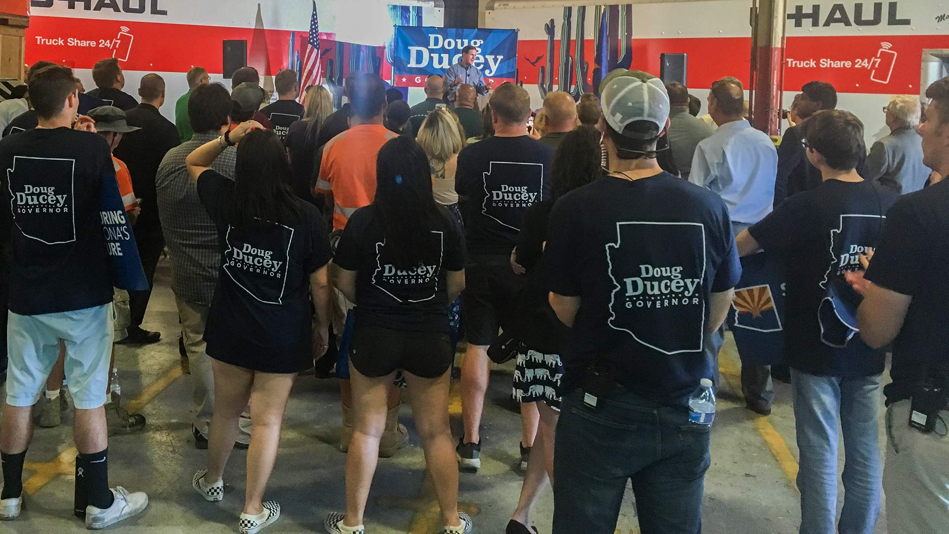 Gov. Doug Ducey at a campaign event at a U-Haul facility in Tucson,  June 20, 2018.