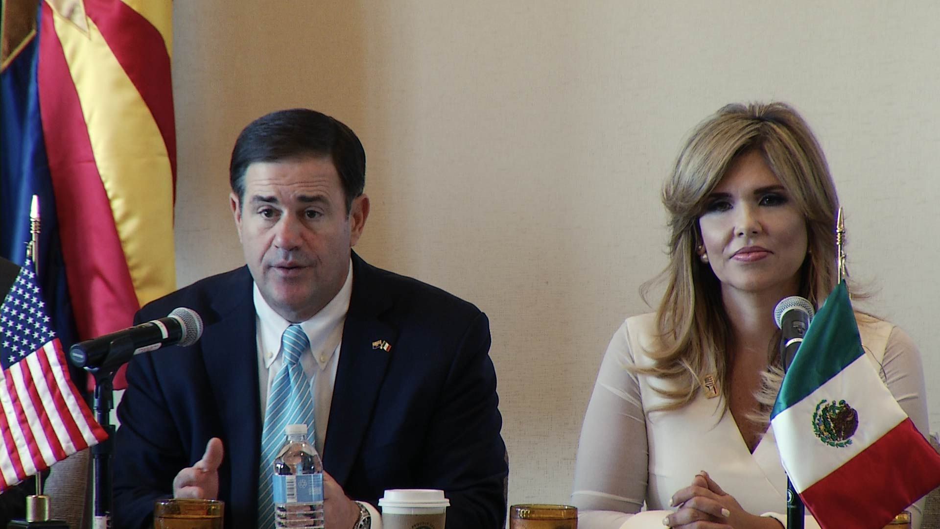 Arizona Governor Doug Ducey and Sonora, Mexico Governor Claudia Pavlovich address the Arizona-Mexico Commission at the organization's annual summit, which was held in Tucson on June 15, 2018.