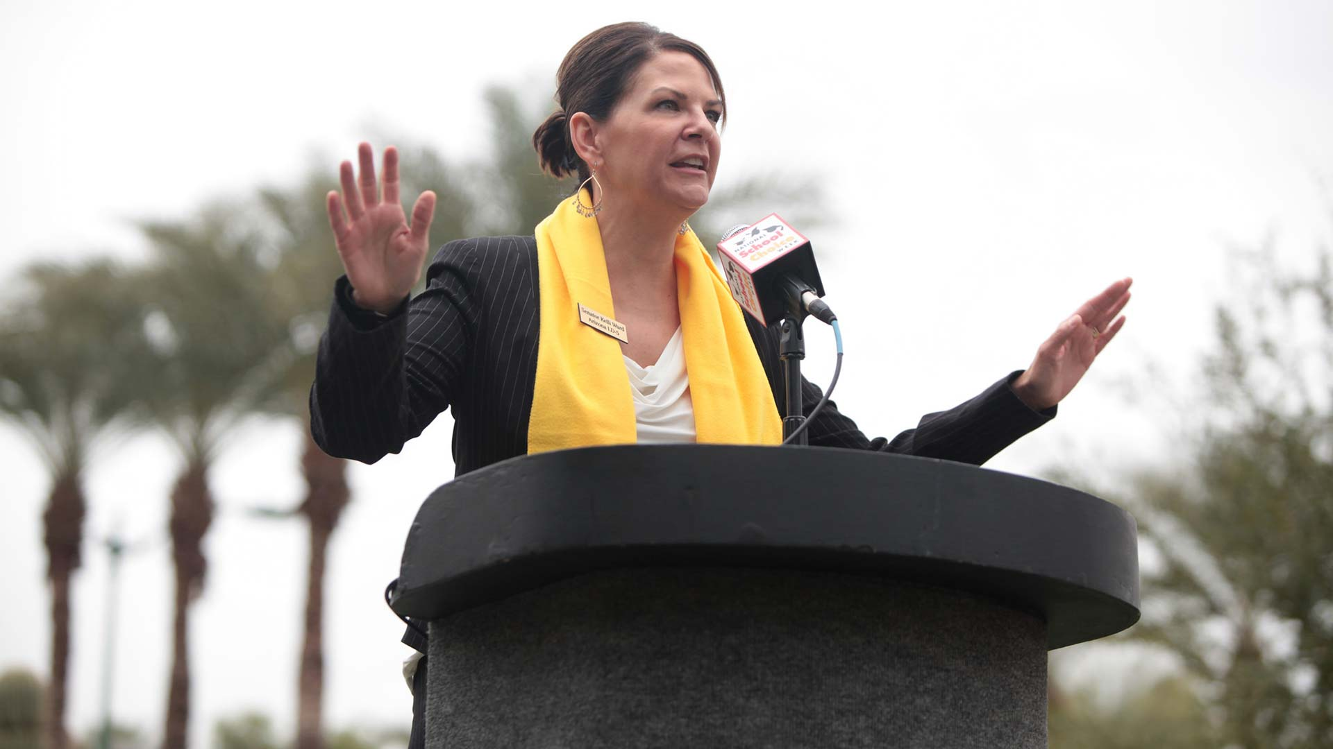 State Senator Kelli Ward speaking at the 2015 School Choice Week rally at the Arizona State Capitol building in Phoenix, Arizona.