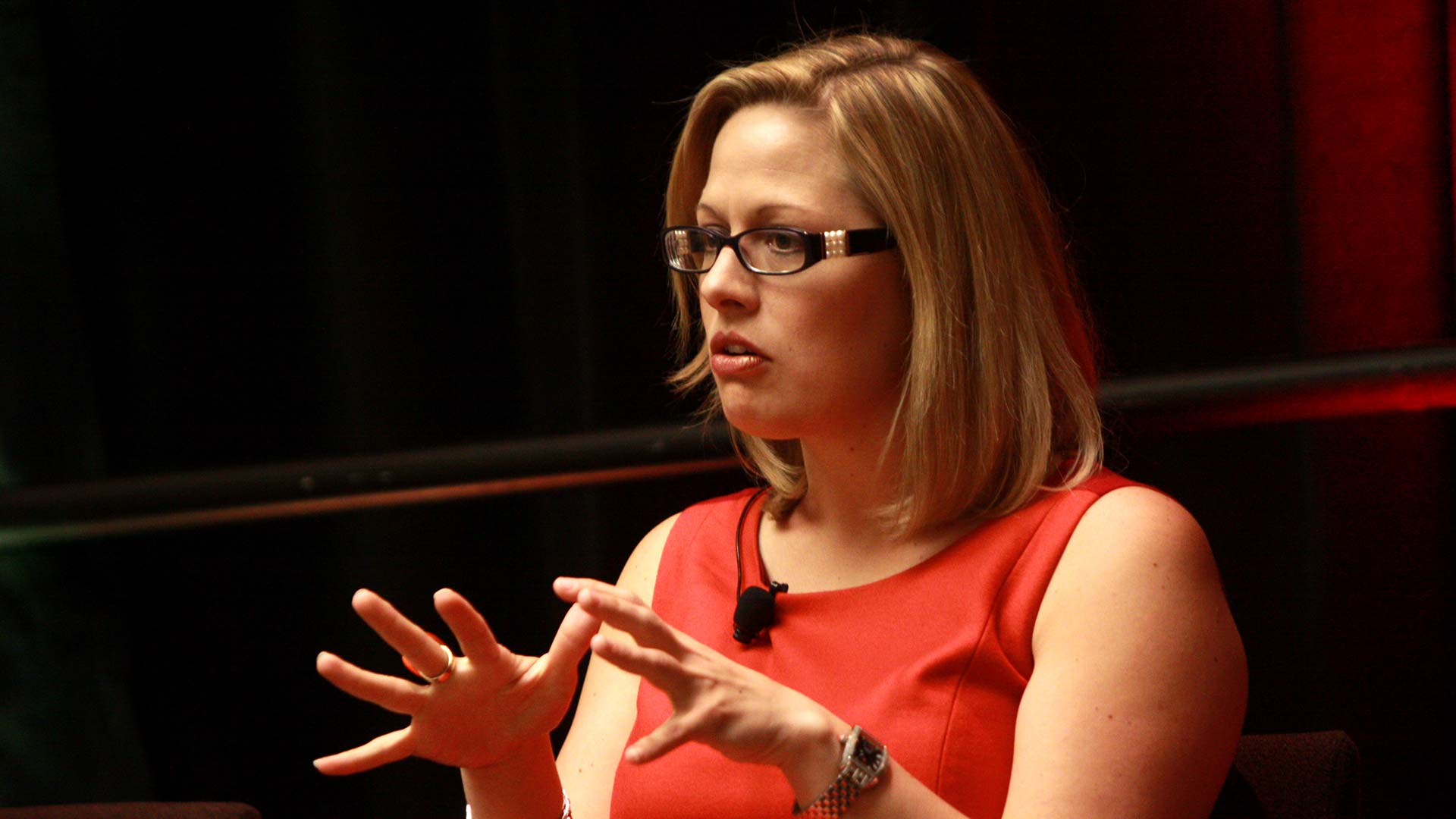 Congresswoman Kyrsten Sinema speaking at a Congressional panel at the Arizona Chamber of Commerce's Manufacturer of the Year summit in Phoenix, Arizona.