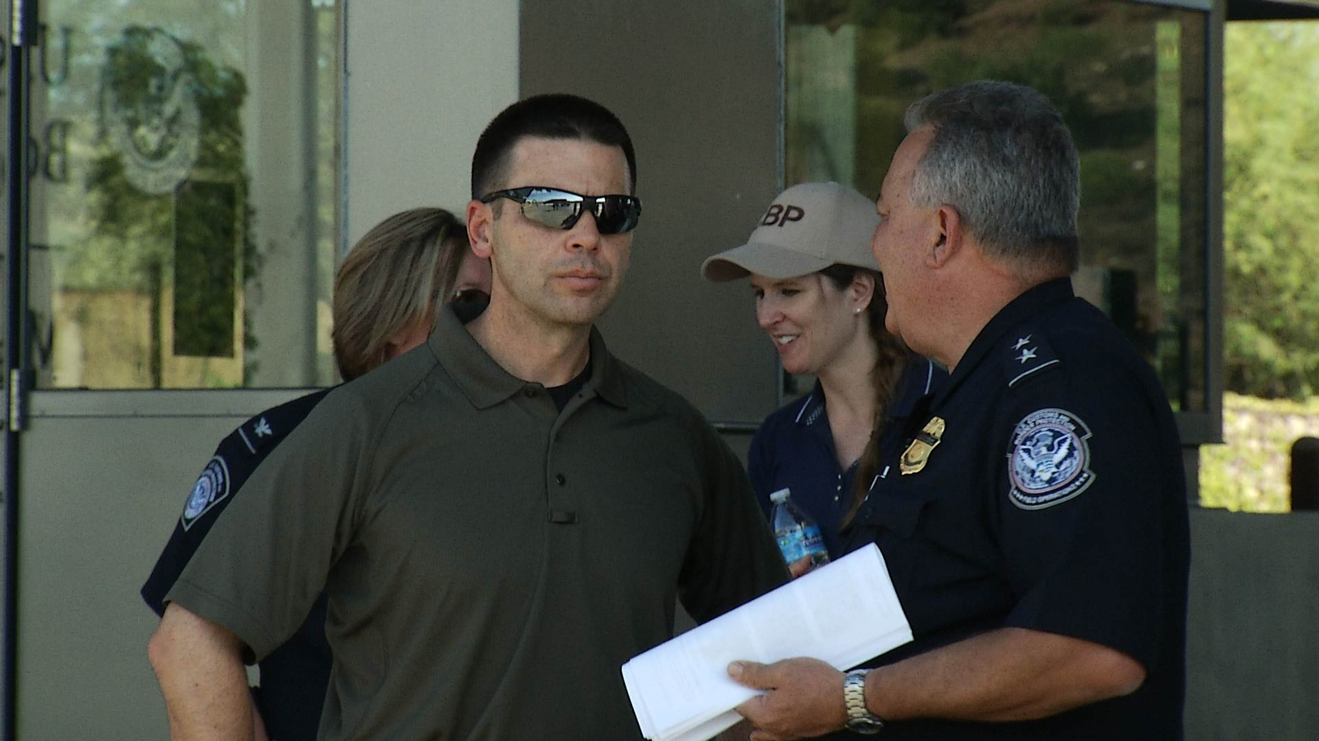 Customs and Border Protection Commissioner Kevin McAleenan (left) meets with Customs officials at the Mariposa Land Port of Entry in Nogales on June 27, 2018.