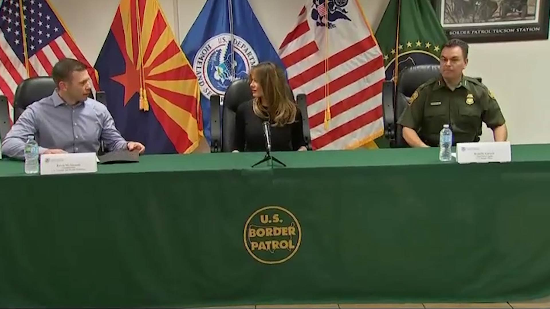 First lady Melania Trump sits between Customs and Border Protection Commissioner Kevin McAleenan, left, and Tucson Sector Border Patrol Chief Rodolfo Karisch at a meeting during her visit to Tucson on June 28, 2018.