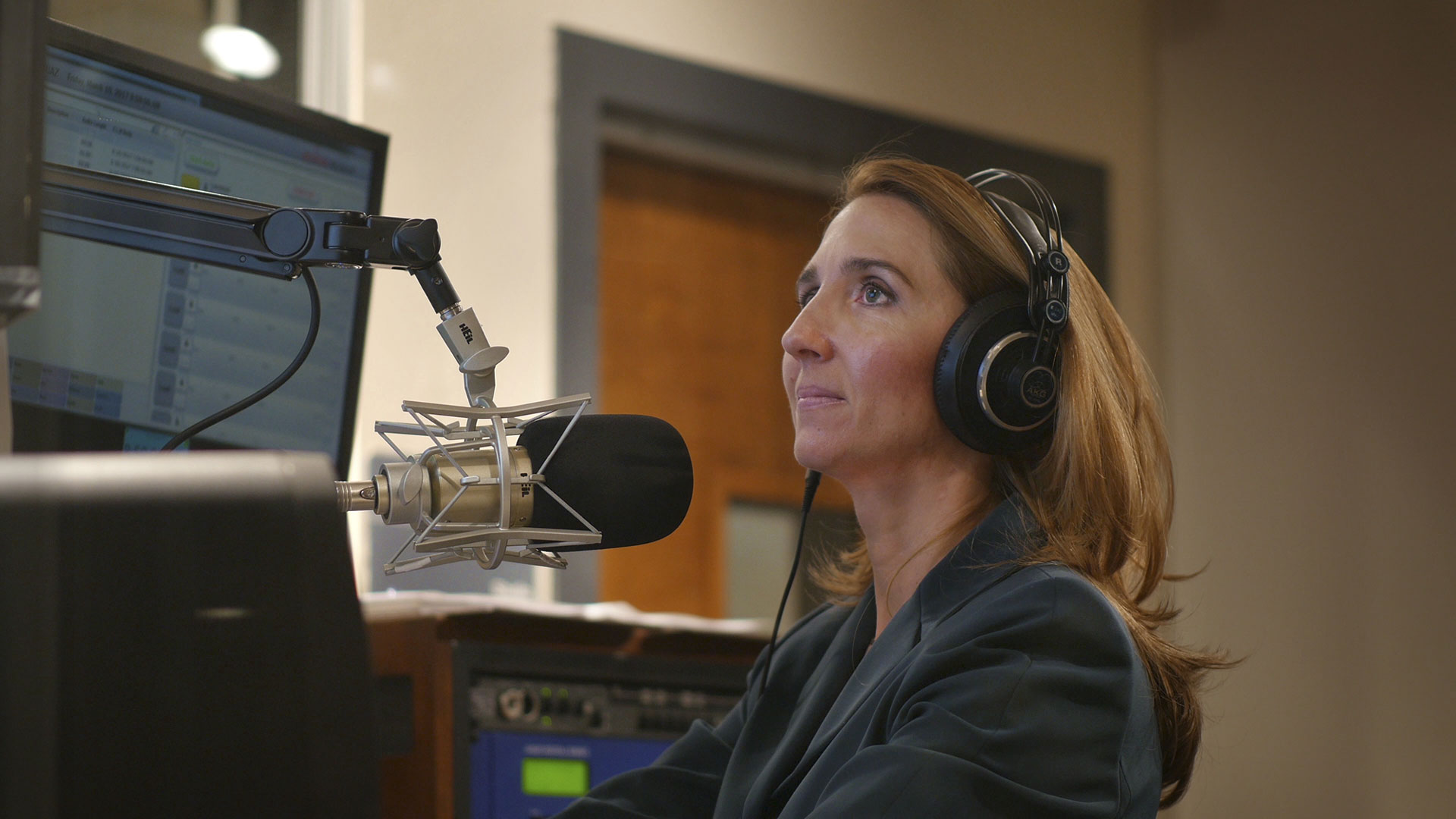 NPR 89.1 Morning Announcer, Nicole Cox on the air.