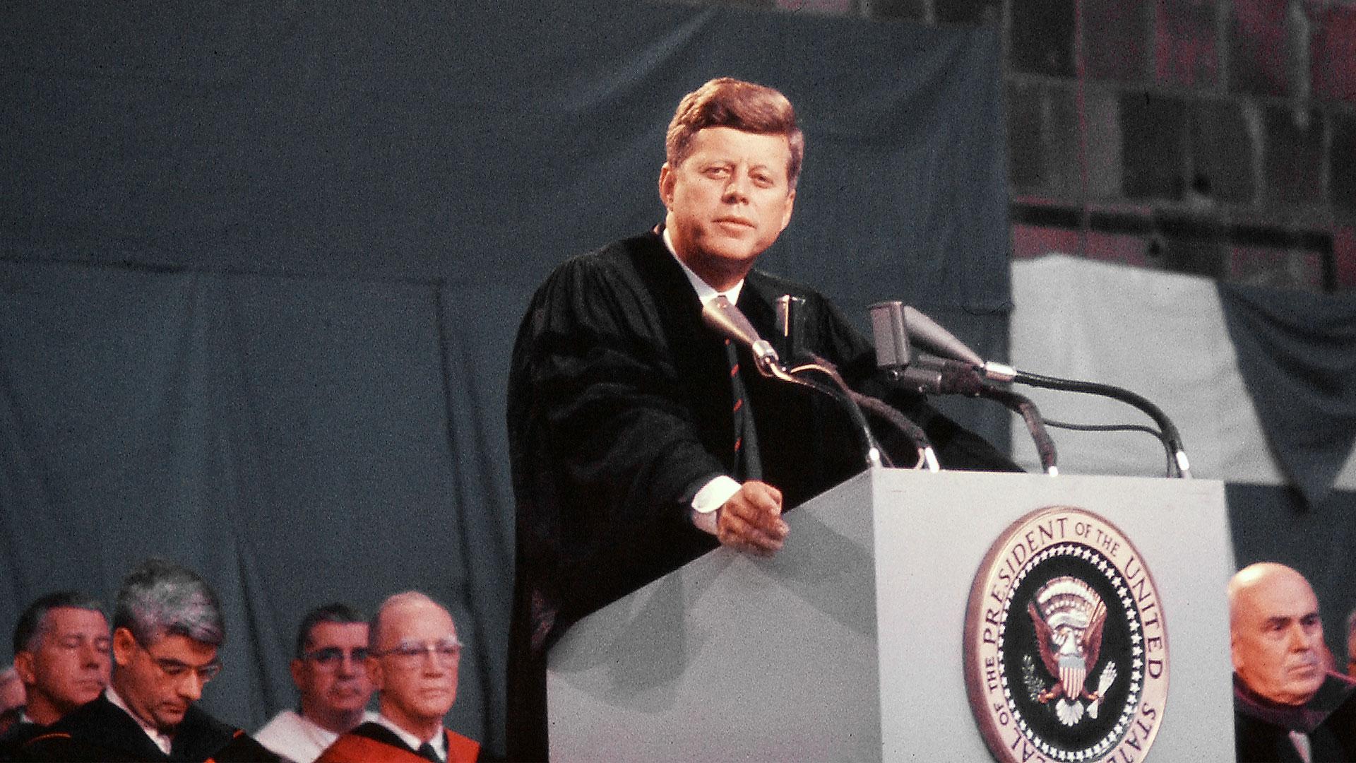 Kennedy at podium