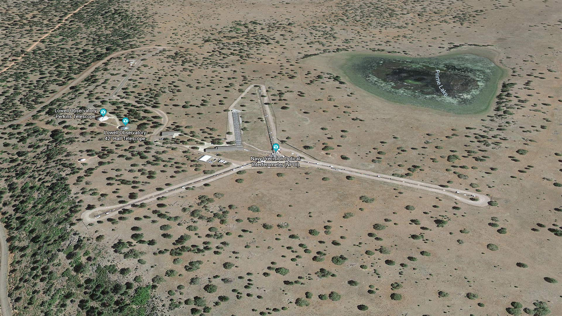 Google Earth view of the Navy Optical Precision Interferometer outside of Flagstaff.