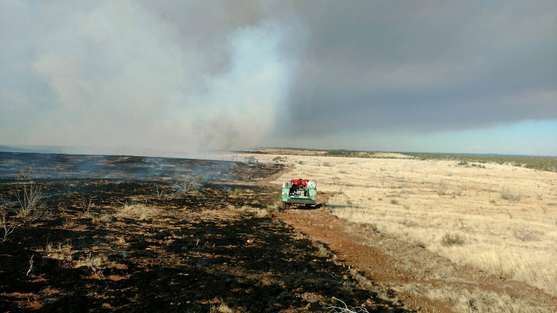 "An image of a fire truck on the ""377 Fire,"" which the Forest Service says comprises various wildfires, June 4, 2018."