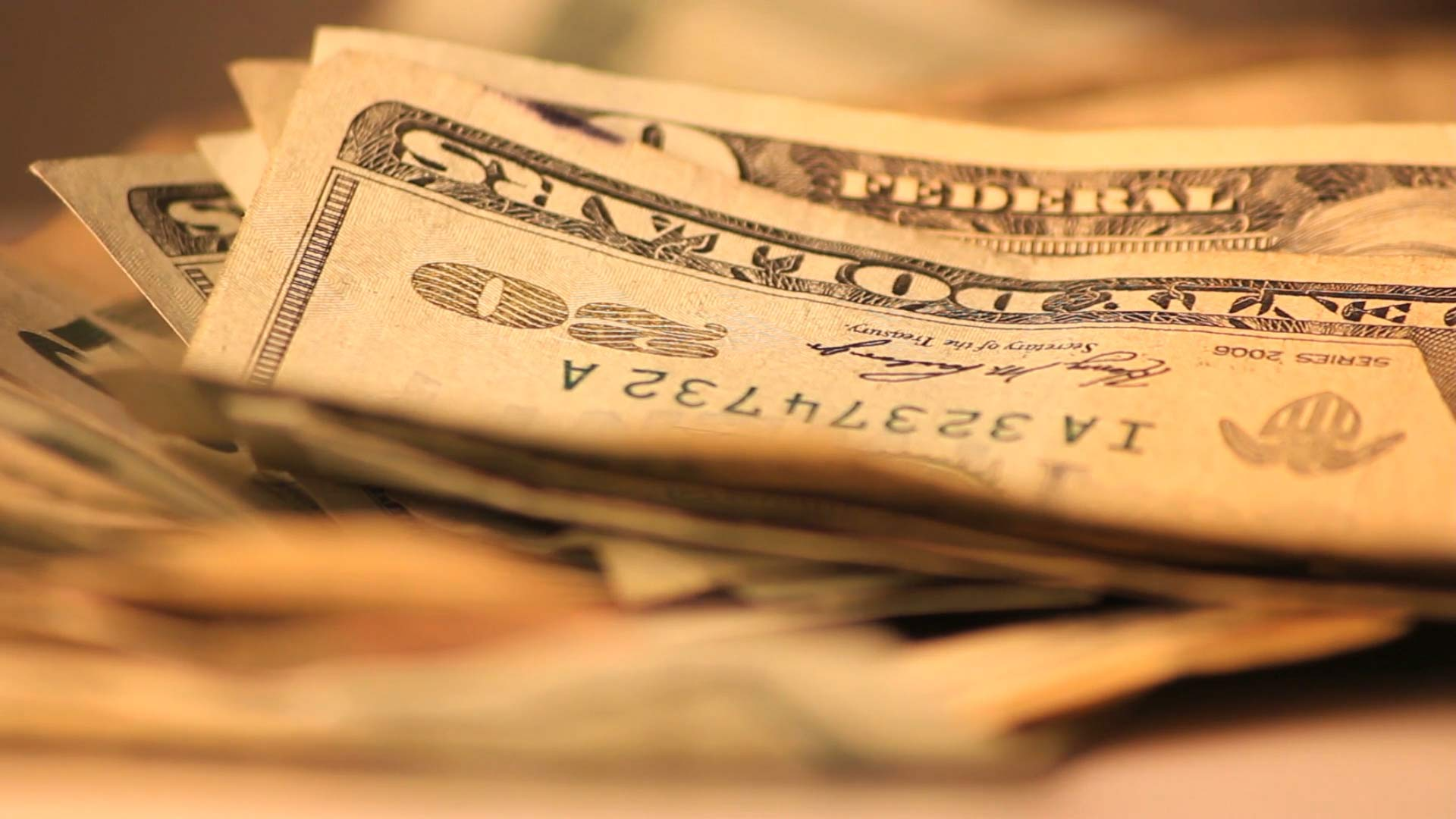 $20 bills, USD.
