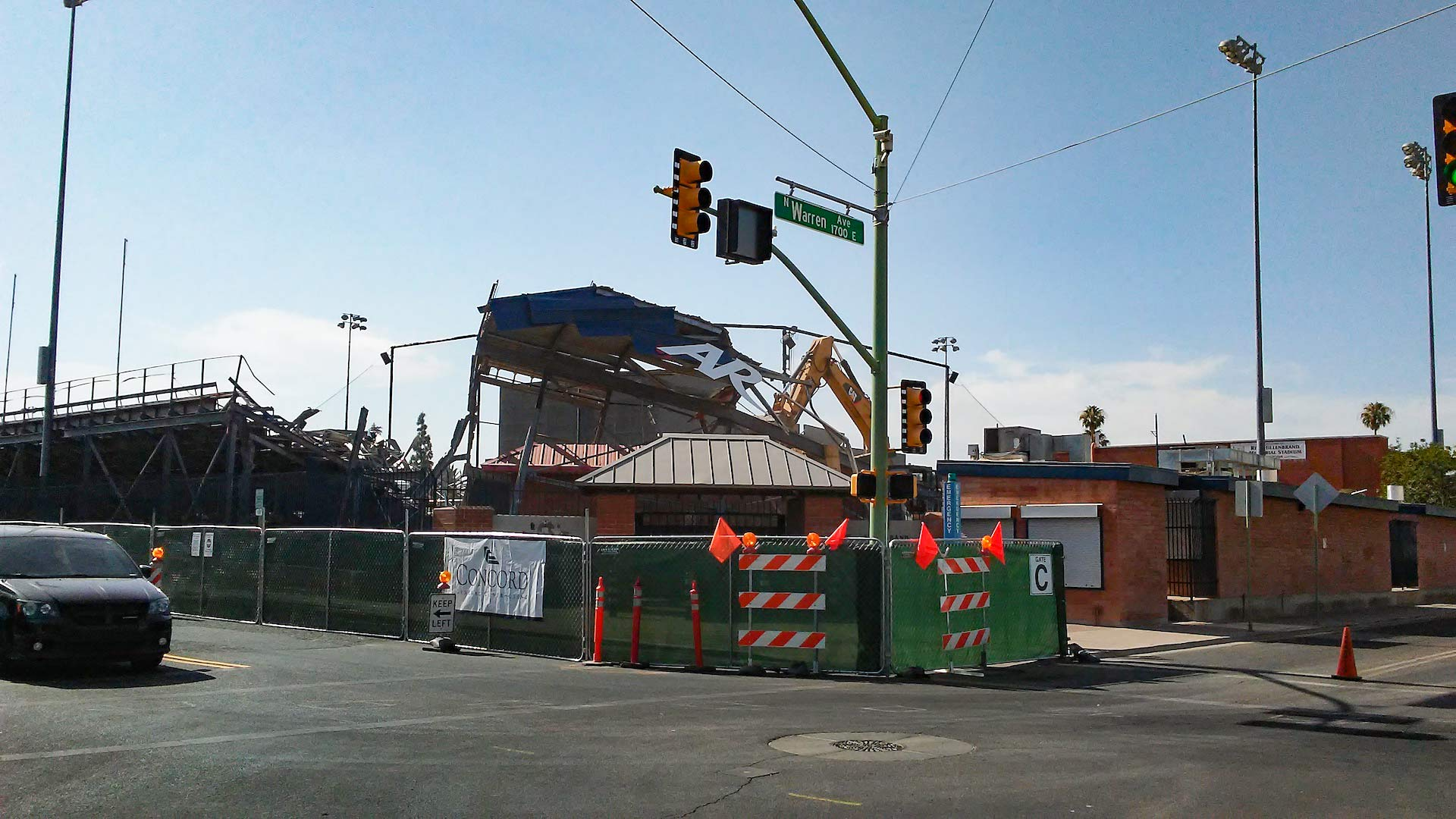 Demolition is underway for improvements at Rita Hillenbrand Stadium.