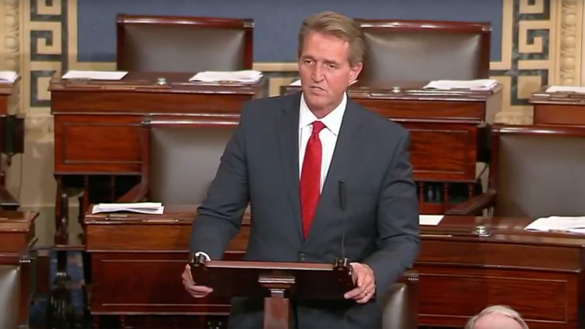 U.S. Sen. Jeff Flake of Arizona speaking about Trump administration tariffs, June 7, 2018.