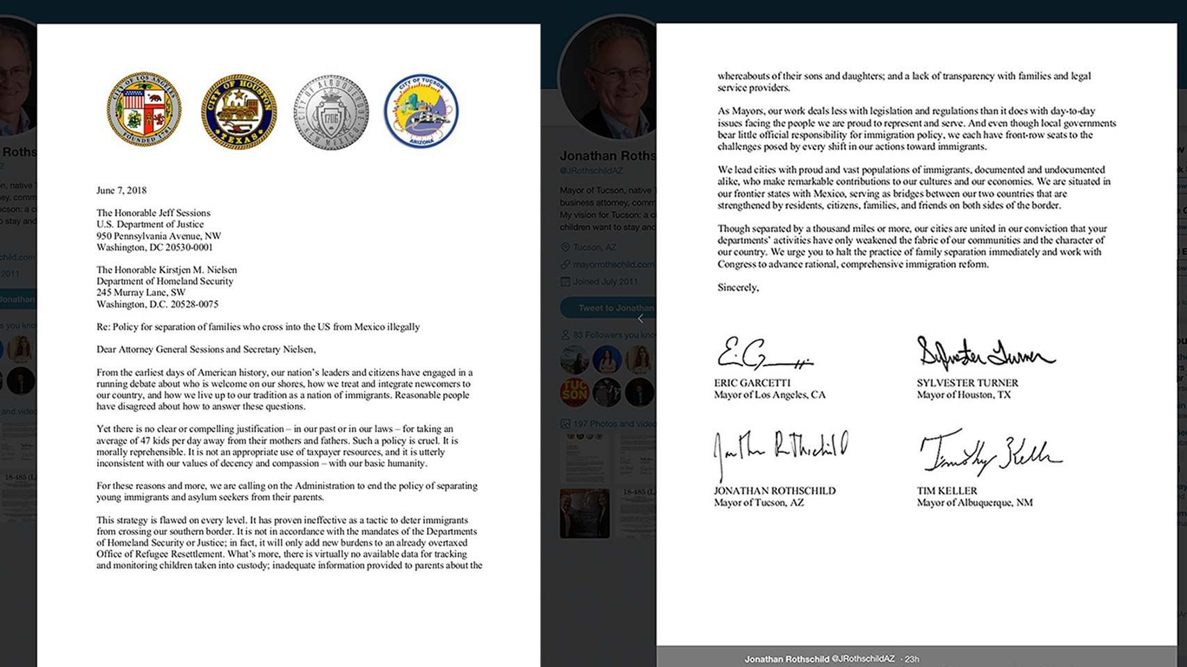 A letter to the Trump administration signed by the mayors of Tucson, Houston, Albuquerque and Los Angeles addressing a policy separating immigrant families seeking asylum.