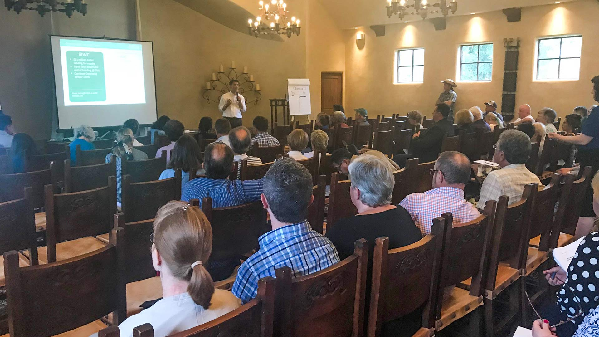 Misael Cabrera, director of the Arizona Department of Environmental Quality, meets July 10, 2018 with Southern Arizona residents about replacing the 8-mile IOI pipeline, which carries raw sewage from Mexico into Arizona. The treated water is then released into the Santa Cruz River.