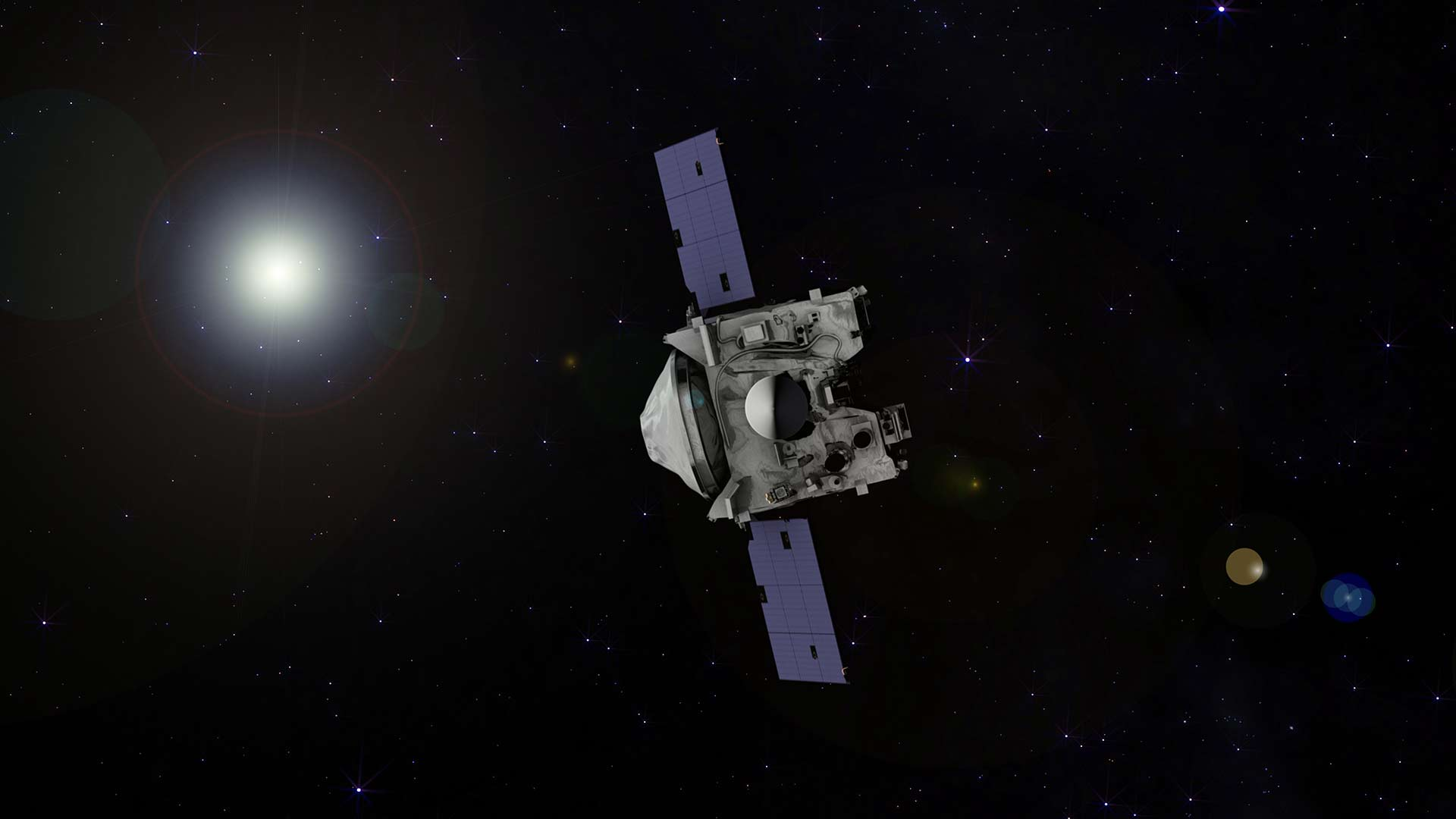 An illustration of the OSIRIS-REx spacecraft. Image courtesy [OSIRIS-REx Asteroid Sample Return Mission](https://www.asteroidmission.org/).