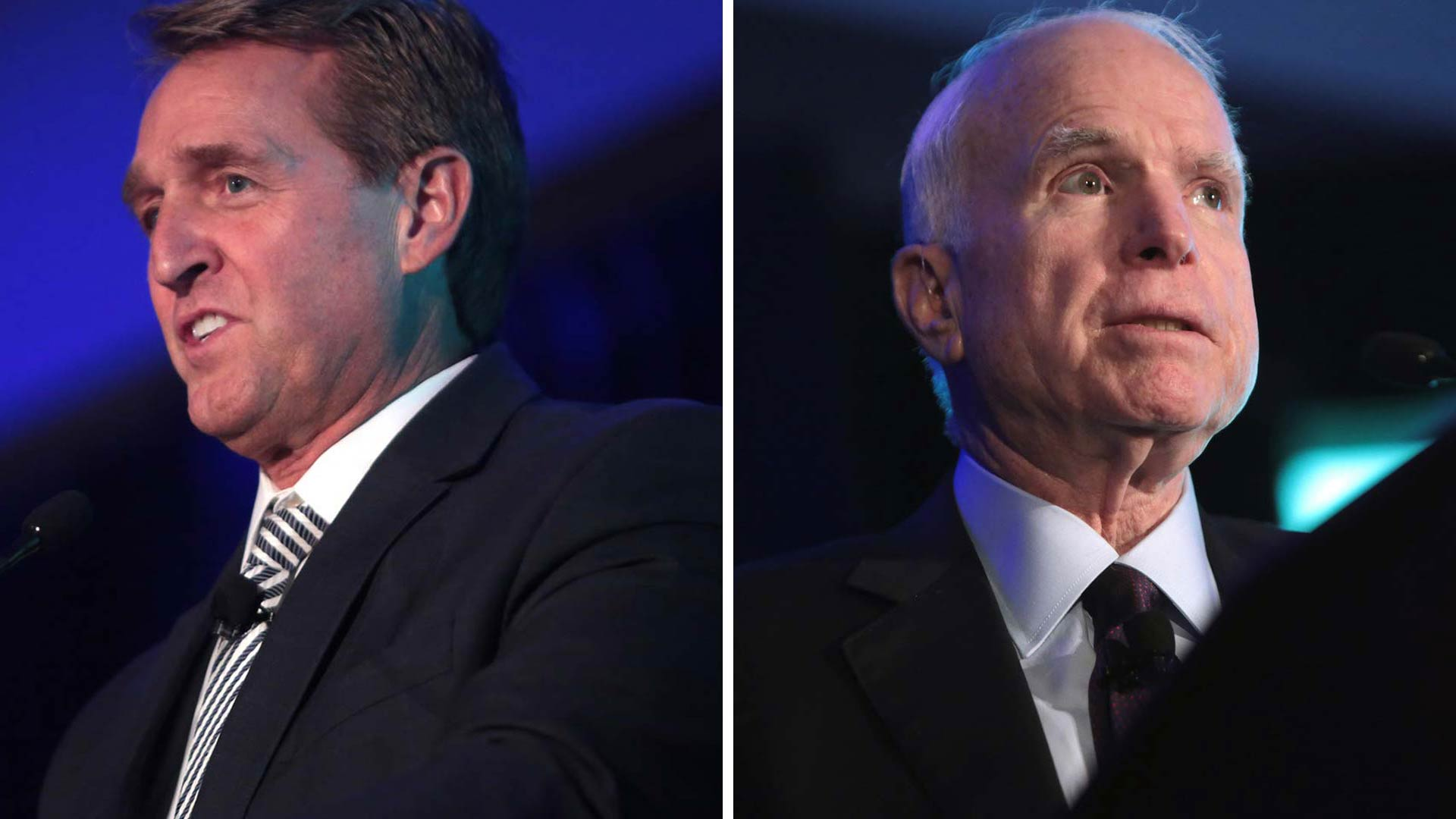 U.S. Sens. from Arizona Jeff Flake, left, and John McCain.