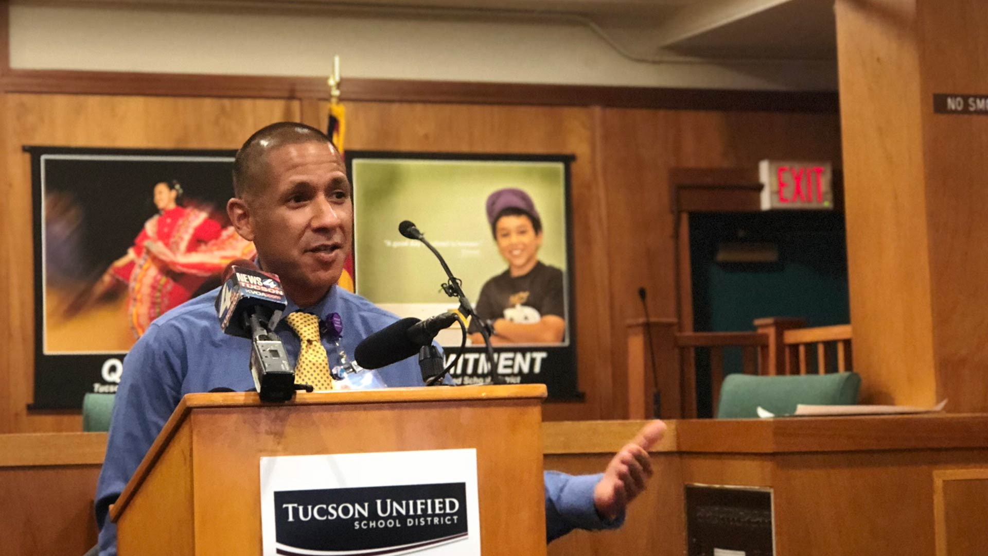 Tucson Unified School District Superintendent Gabriel Trujillo speaking at district headquarters, July 17, 2018.