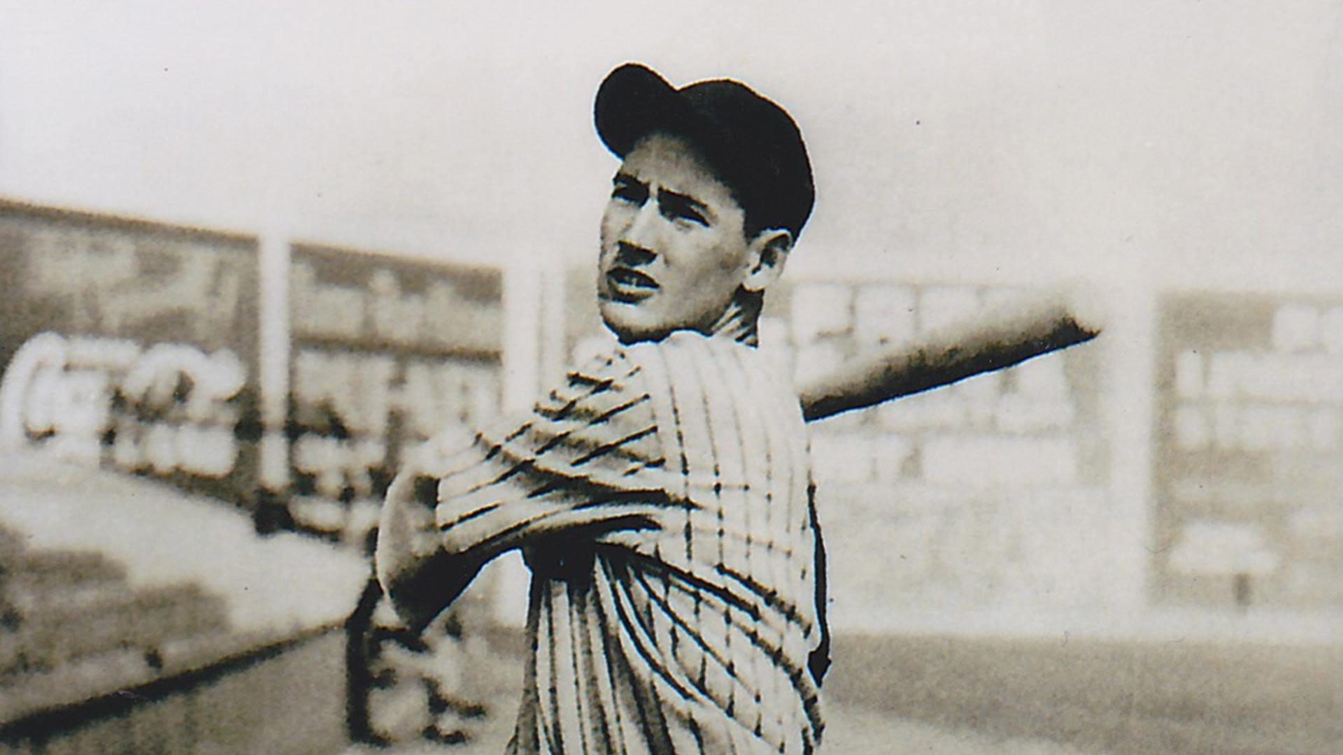 Ted Williams at Lane Field, bat over shoulder.