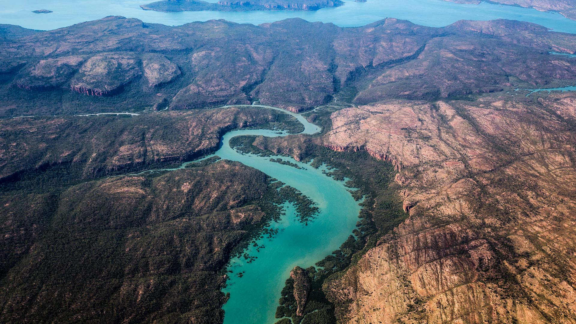 Aerial of coastal waters on route to Pearl Farms near Broome, Western Australia.