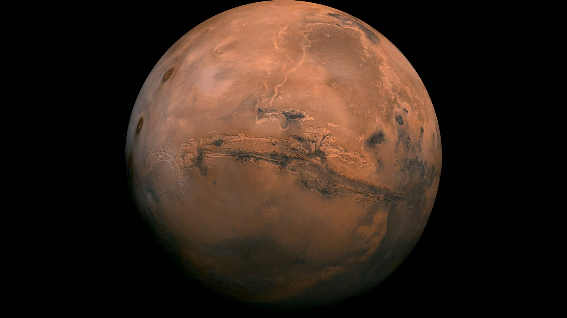 Mosaic of the Valles Marineris hemisphere of Mars, by the Viking Orbiter. The Valles Marineris canyon system is visible.