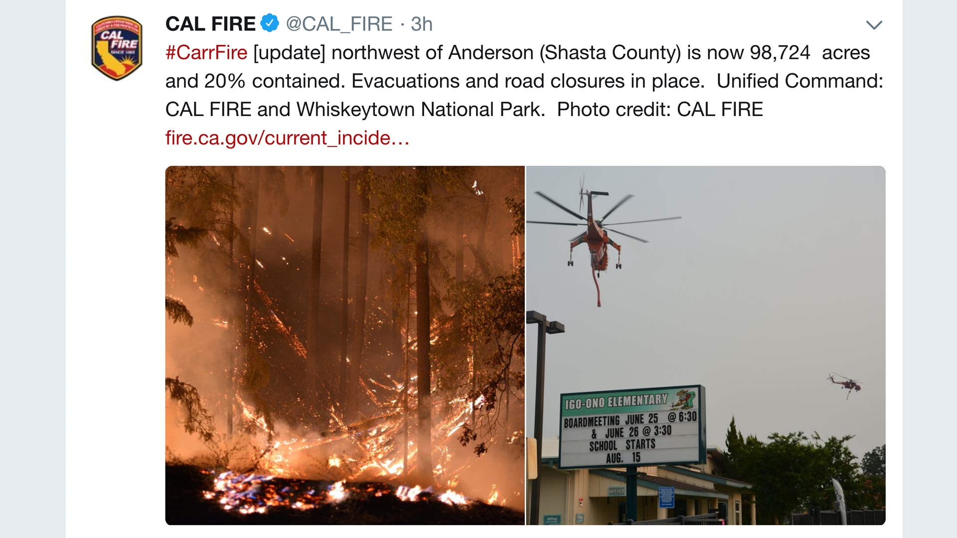 Image from the Twitter page of California Department of Forestry and Fire Protection regarding the deadly Carr Fire burning in Northern California. July 30, 2018.