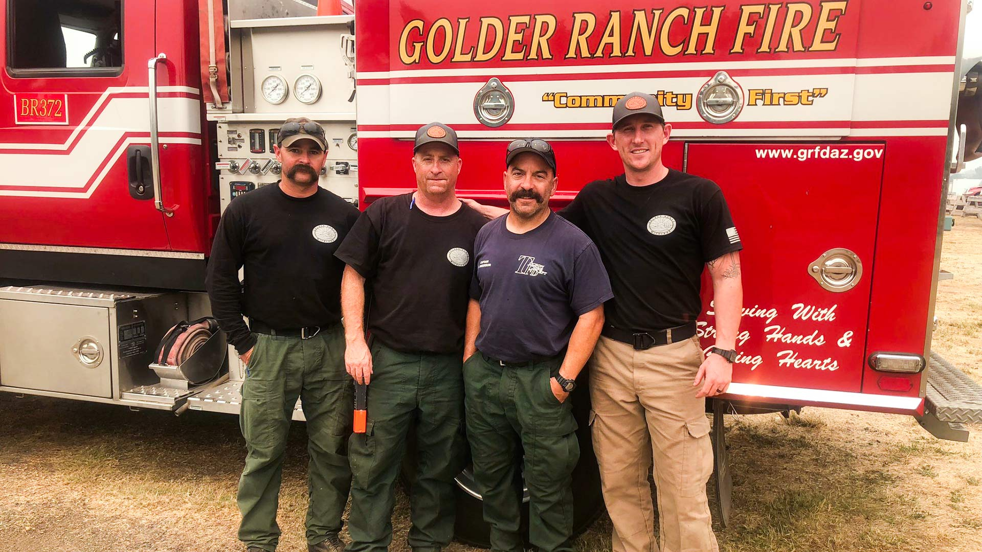 Three Golder Ranch Fire District members pose with a Tucson Fire Captain before deploying to the Carr fire in Northern California. From Left, GRFD Engineer Michael Waldorf, GRFD firefighter Scott Petersen, TFD Captain Eliot Anderson and GRFD firefighter James Cissell.