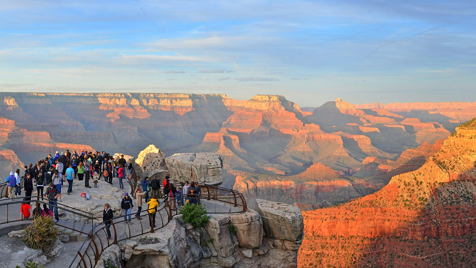 Visitors at Mather Point, at the South Rim of the Grand Canyon.