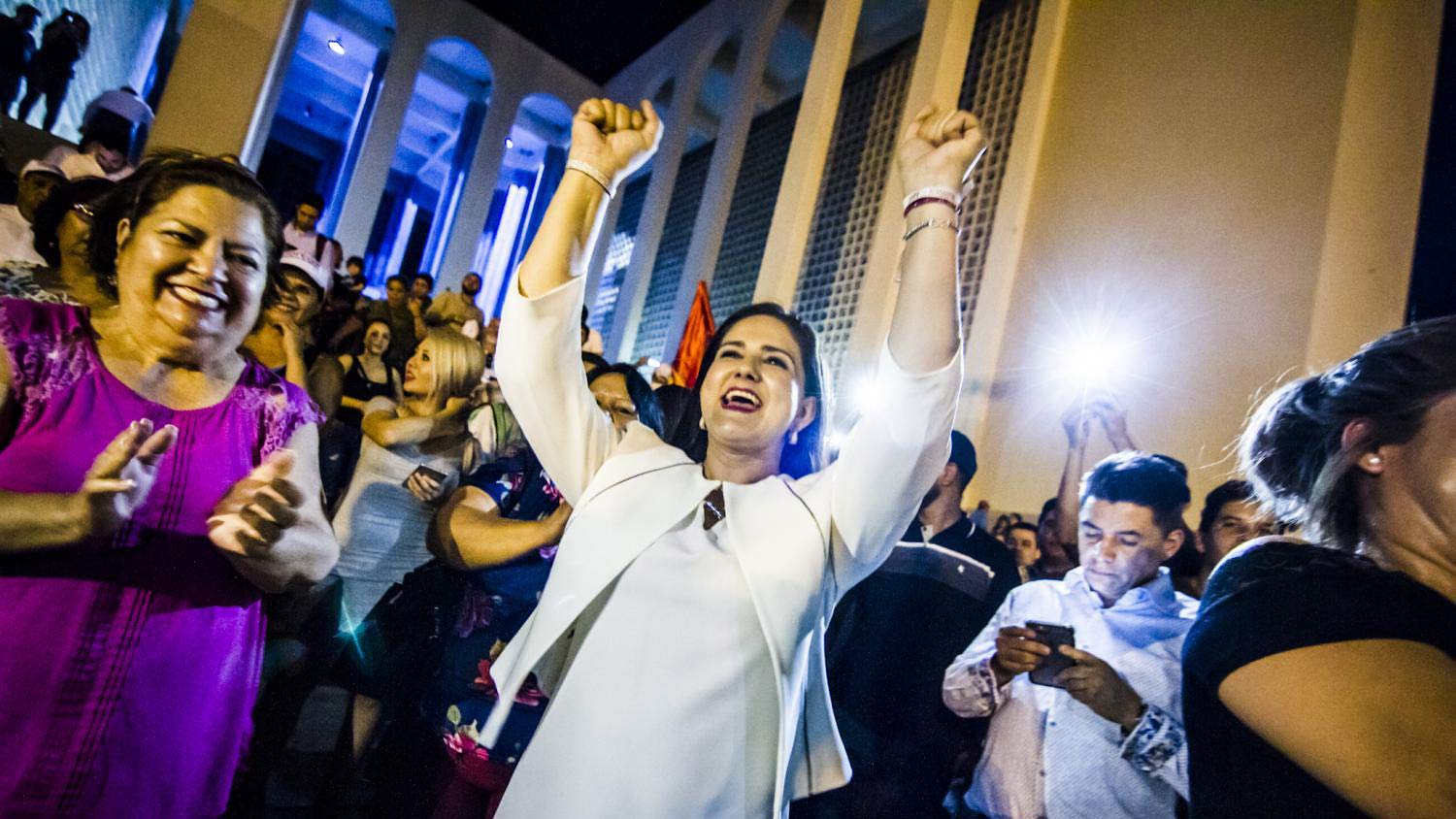 Morena candidate for mayor of Hermosillo, Célida López, cheers on elections night after quick counts showed her with a substantial lead in the race.