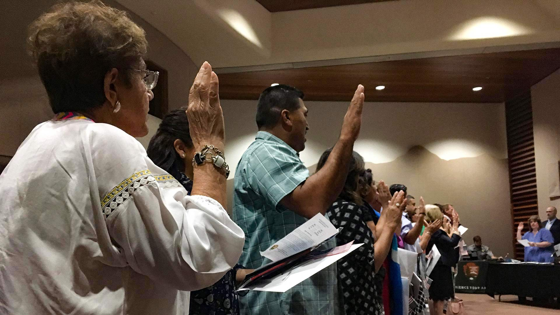New citizens take the oath of allegiance at Saguaro National Park at the annual Independence Day citizenship ceremony, July 4, 2018.