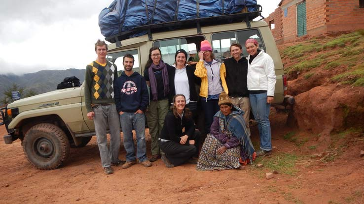 Pictured are UA students with of Engineers Without Borders who worked on a sanitation project in the Bolivian Andes in the summer of 2015. Vicki Karanikola is in the back row, at center.