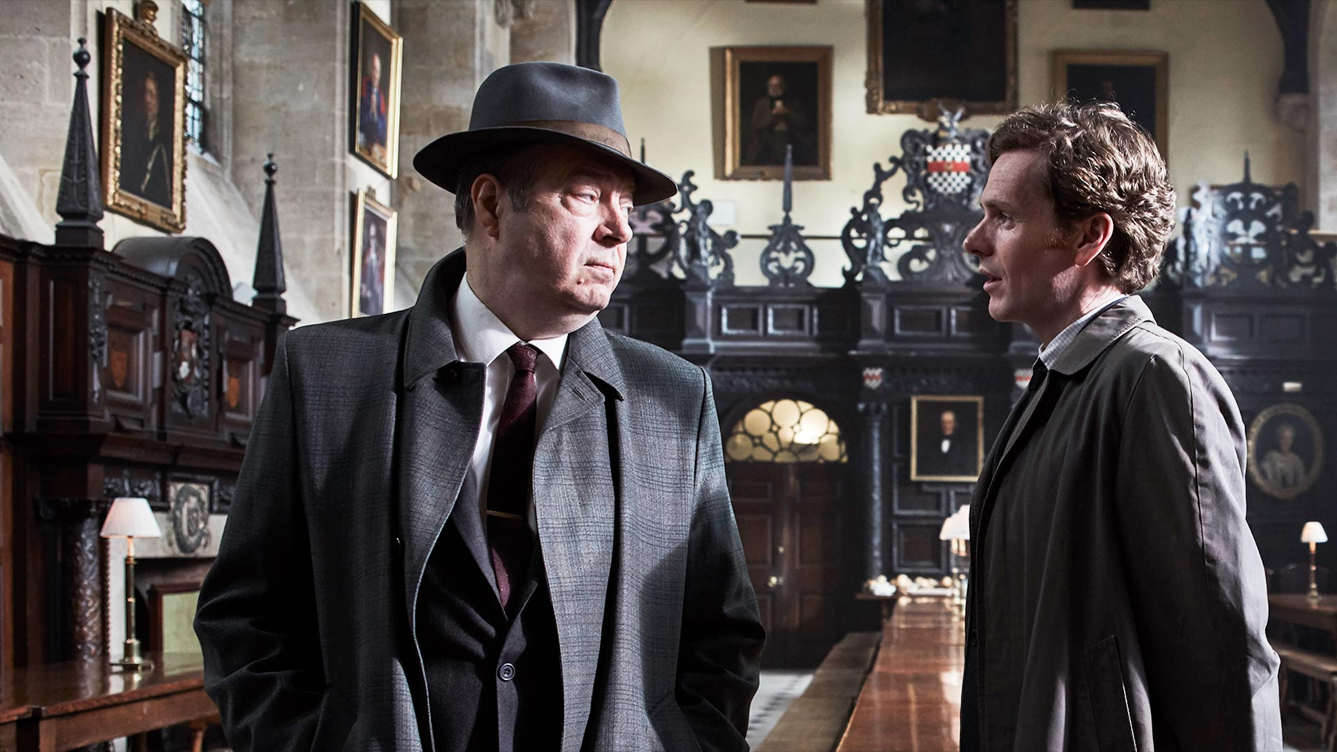 Shown from left to right: Roger Allam as Detective Chief Inspector Fred Thursday and Shaun Evans as Detective Sergeant Endeavour Morse.