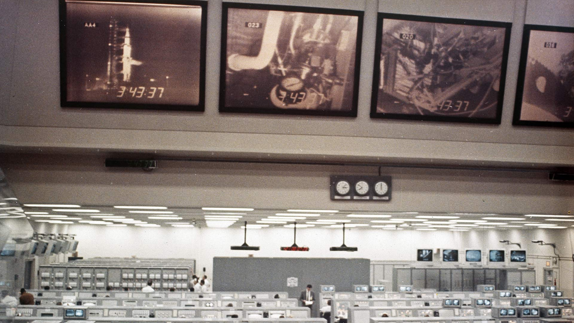 The Apollo 8 mission control room pre-launch, in 1968, at the Kennedy Space Center.