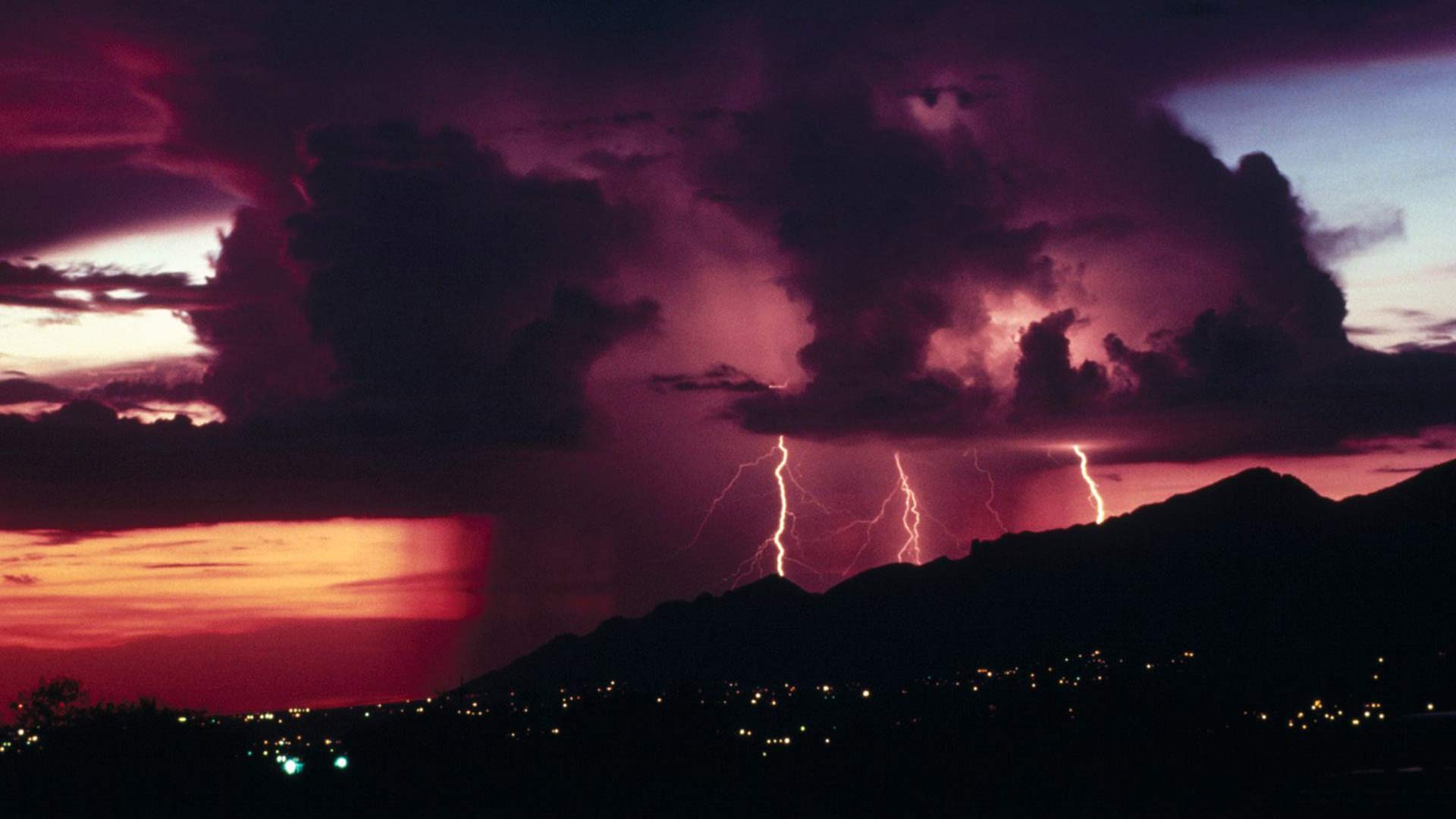 A file photo of lightning striking the Santa Catalina Mountains.
