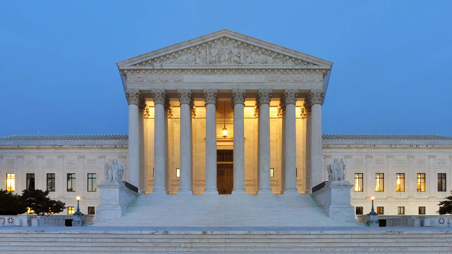 The west facade of United States Supreme Court Building at dusk in Washington, D.C., USA. From October 2011.