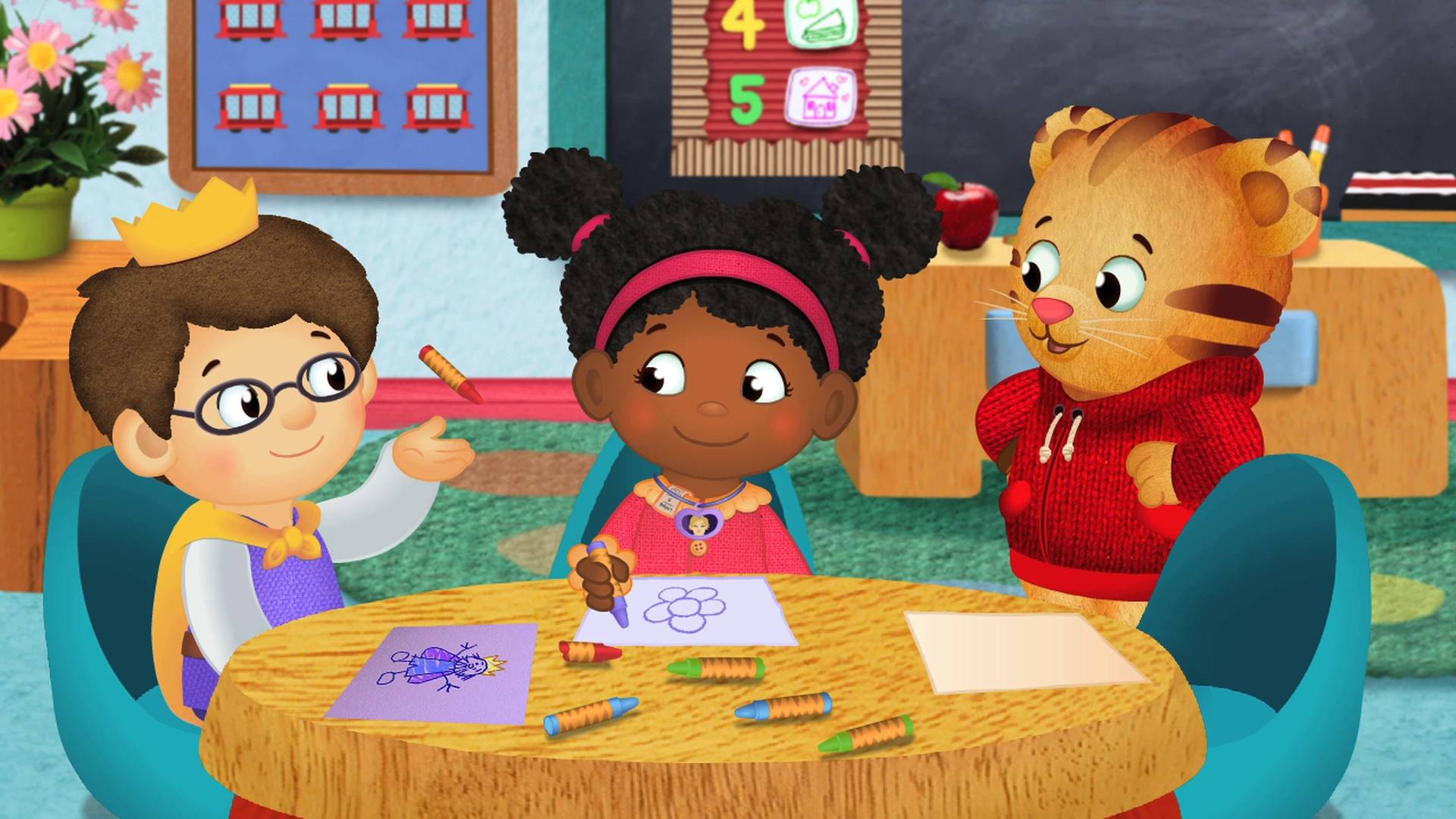 Daniel Tiger goes to school.