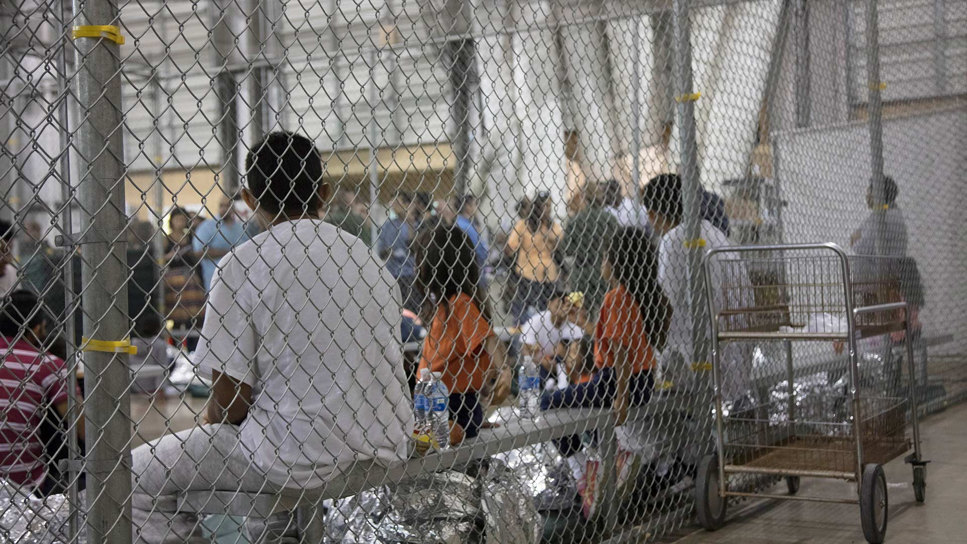 Adults and children at Border Patrol's Central Processing Center in McAllen, Texas, June 17, 2018.