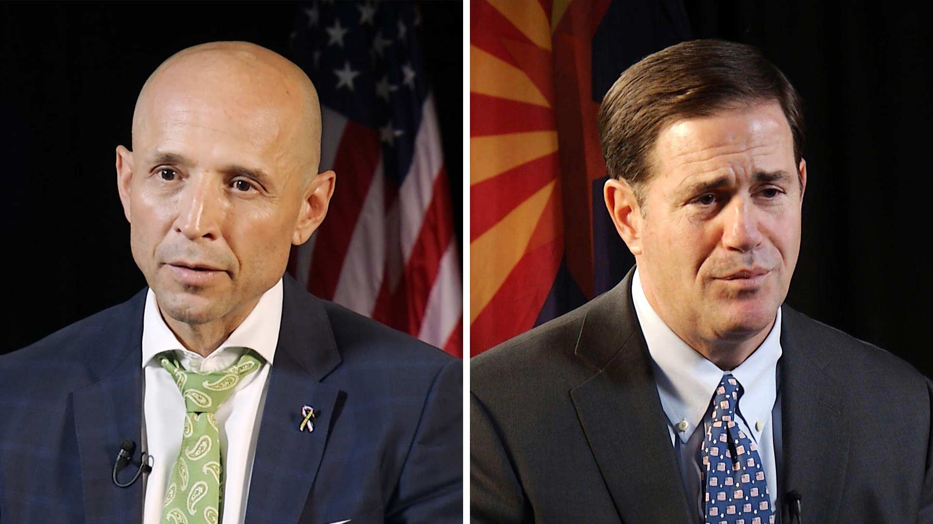 David Garcia, left, and Doug Ducey.