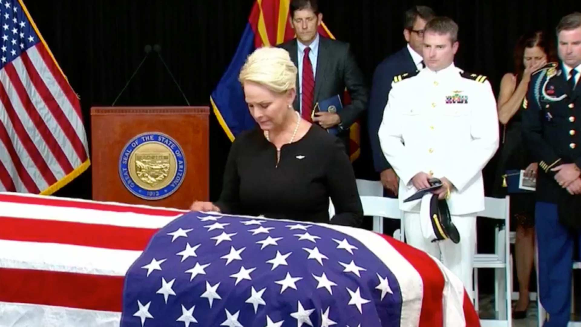 Cindy McCain at the casket of Sen. John McCain, lying in state in Phoenix, Aug. 29, 2018.