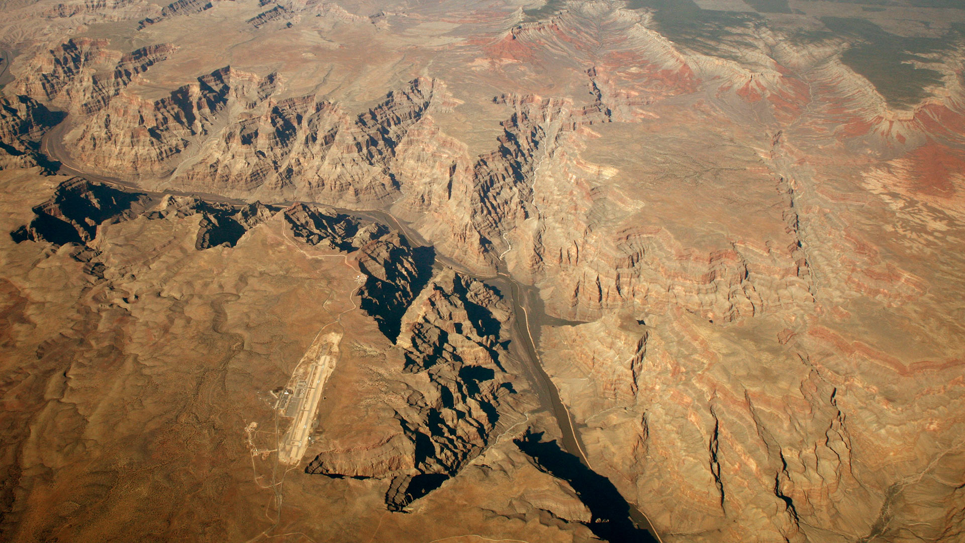 The airport runway at Grand Canyon West seen from an aerial photo.