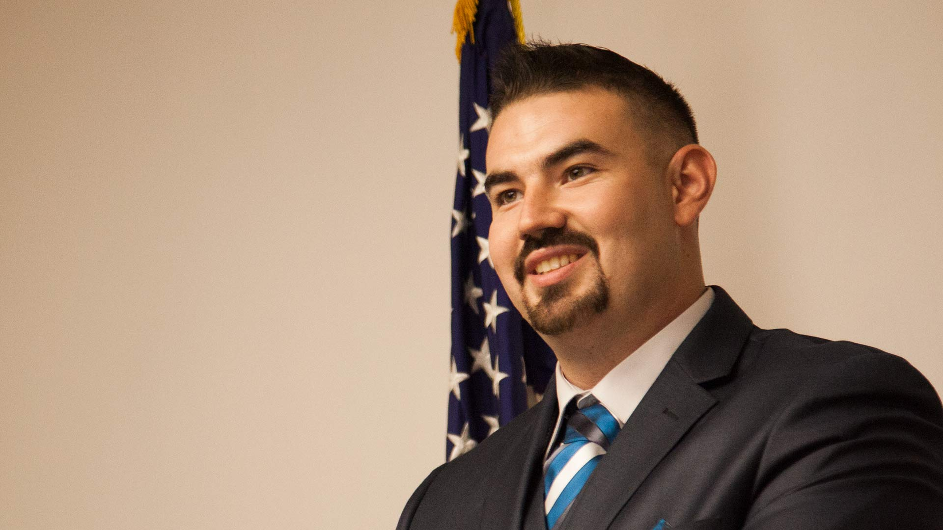 Veteran Nicholas Andres Figueroa at the Tucson Metro Chamber, Sept. 13, 2018