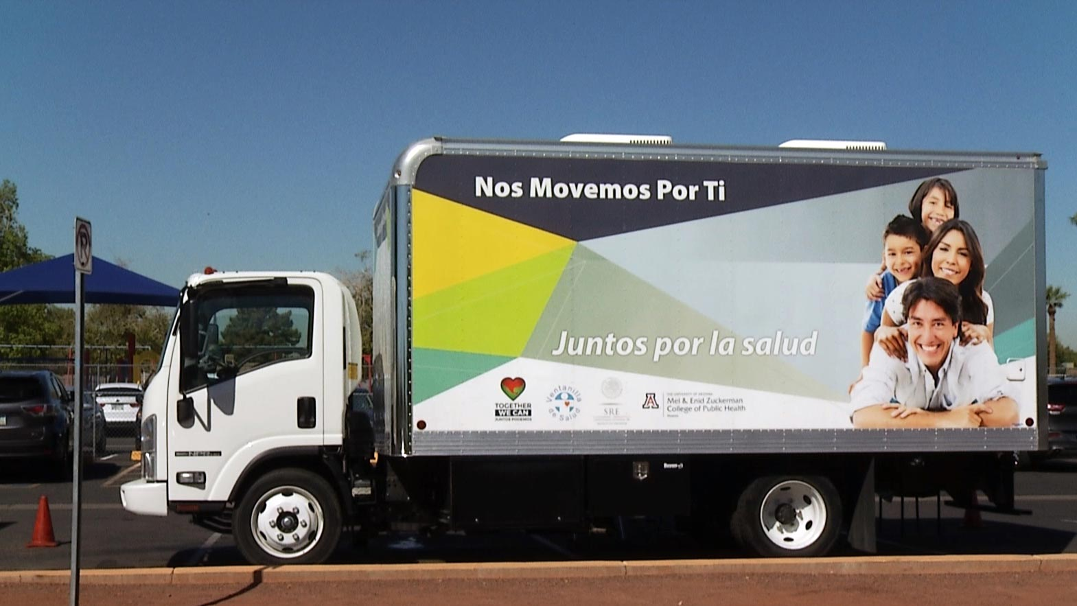 A mobile health clinic set up outside an elementary school in Phoenix. Funding for the clinics comes from the Mexican government. They operate in several states, including Arizona.