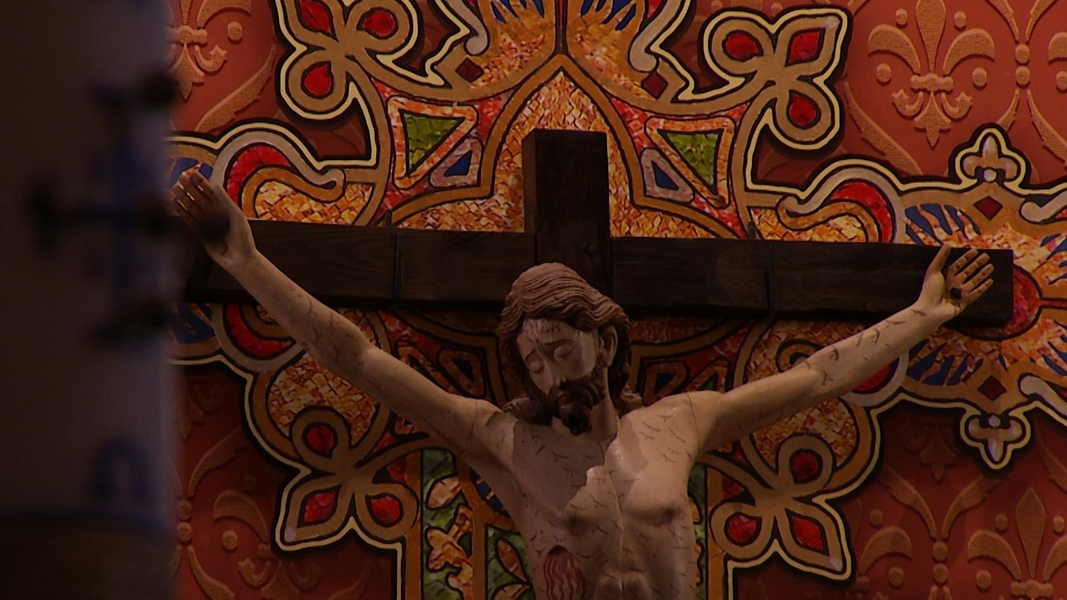 A crucifix inside the St. Augustine Cathedral Church in Tucson.
